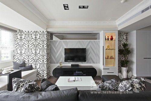 客厅挑空电视背景墙